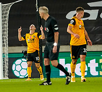30th October 2020; Molineux Stadium, Wolverhampton, West Midlands, England; English Premier League Football, Wolverhampton Wanderers versus Crystal Palace; Daniel Podence of Wolverhampton Wanderers celebrates scoring in the 27th minute for 2-0