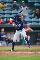 New Hampshire Fisher Cats left fielder Jonathan Davis (9) at bat during a game against the Altoona Curve on May 11, 2017 at Peoples Natural Gas Field in Altoona, Pennsylvania.  Altoona defeated New Hampshire 4-3.  (Mike Janes/Four Seam Images)