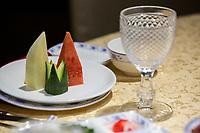 Yangzhou, Jiangsu, China.  Appetizer of Melon, Watermelon, and Cucumber.