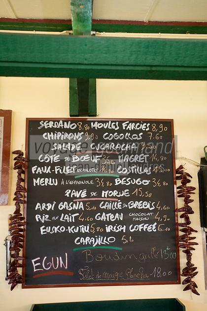 """Europe/France/Aquitaine/64/Pyrénées-Atlantiques/Pays Basque/ Bidart: Menu du restaurant """"La Cucaracha"""""""