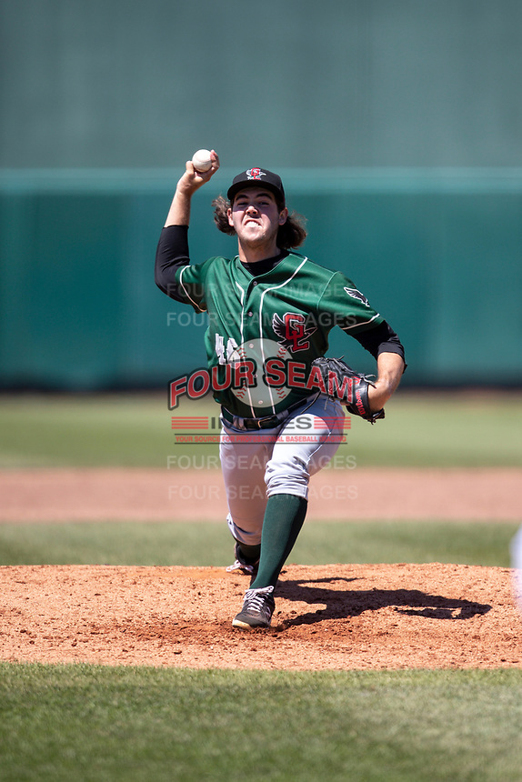 Great Lakes Loons pitcher Jack Little (46) delivers a pitch to the plate on May 30, 2021 against the Lansing Lugnuts at Jackson Field in Lansing, Michigan. (Andrew Woolley/Four Seam Images)