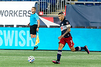 FOXBOROUGH, MA - AUGUST 29: Gustavo Bou #7 of New England Revolution brings the ball forward during a game between New York Red Bulls and New England Revolution at Gillette Stadium on August 29, 2020 in Foxborough, Massachusetts.