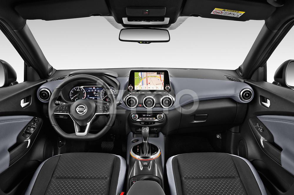 Stock photo of straight dashboard view of 2020 Nissan Juke 5 Door SUV Dashboard