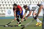 GER - Mannheim, Germany, October 02: During the men hockey match between Mannheimer HC (red) and HTC Uhlenhorst Muehlheim (white) on October 2, 2016 at Mannheimer HC in Mannheim, Germany. Final score 4-4 (HT 1-3). (Photo by Dirk Markgraf / www.265-images.com) *** Local caption *** Danny Nguyen #22 of Mannheimer HC, Tobias Matania #10 of HTC Uhlenhorst Muehlheim