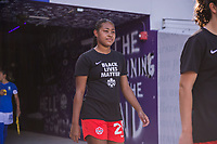 ORLANDO, FL - FEBRUARY 24: Jayde Riviere #20 of the CANWNT walks out of the tunnel before a game between Brazil and Canada at Exploria Stadium on February 24, 2021 in Orlando, Florida.