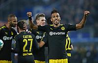20.09.2017, Football 1. Bundesliga 2017/2018, 5.  match day, Hamburger SV - Borussia Dortmund, Volksparkstadium Hamburg. celebration goalschuetze Pierre-Emerick Aubameyang (, Dortmund)    0:2 *** Local Caption *** © pixathlon<br /> <br /> +++ NED + SUI out !!! +++<br /> Contact: +49-40-22 63 02 60 , info@pixathlon.de