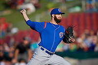 South Bend Cubs starting pitcher Ryan Williams (7) delivers a pitch during a game against the Kane County Cougars on July 21, 2018 at Northwestern Medicine Field in Geneva, Illinois.  South Bend defeated Kane County 4-2.  (Mike Janes/Four Seam Images)
