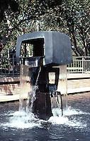 Los Angeles: Malcolm Hall, UCLA--fountain sculpture. George Tsutakawa, 1969. Photo '84.