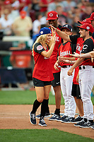 Olivia Holt during introductions before the All-Star Legends and Celebrity Softball Game on July 12, 2015 at Great American Ball Park in Cincinnati, Ohio.  (Mike Janes/Four Seam Images)