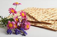 Jewish passover matzoh and flowers