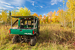 Polaris Ranger ATV parked in an autumn meadow in northern Wisconsin.