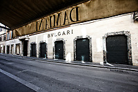 Bulgari's store closed in a desert Via Condotti<br /> Rome March 12th 2020. Rome the day after the last Coronavirus decree, that increase the restrictions of the march 9th decree. All the shops, bars, restaurants and pubs will have to stay close, apart for the ones of public utility as pharmacies, supermarkets and tobacco stores. People are requested to stay at home and go out just to buy food or medicines. In city centre, police officers warn the few tourists and passers to stay into the hotels or at home and to get out just to find food. <br /> Photo Samantha Zucchi Insidefoto