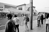 Moscow, Russia.September 15, 2009..A bus stop at the Kievsky train station.