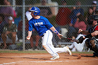 Illinois College Blueboys second baseman Tim Sommerfeld (31) at bat during a game against the Edgewood Eagles on March 14, 2017 at Terry Park in Fort Myers, Florida.  Edgewood defeated Illinois College 11-2.  (Mike Janes/Four Seam Images)