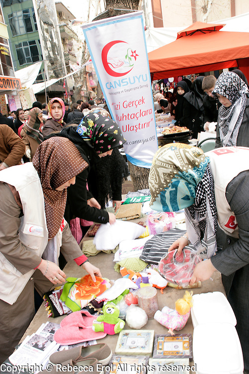 A kermes: Turkish women selling home produce to raise money for the Palestinians in Pendik, Istanbul, Turkey