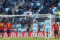 SAINT PAUL, MN - APRIL 24: David Ochoa #1 of Real Salt Lake tips the ball over the goal during a game between Real Salt Lake and Minnesota United FC at Allianz Field on April 24, 2021 in Saint Paul, Minnesota.