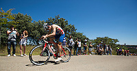 02 JUN 2013 - MADRID, ESP - Phil Wolfe (GBR) of Great Britain reaches the top of the hill during the men's ITU 2013 World Triathlon Series round at Casa de Campo in Madrid, Spain <br /> (PHOTO (C) 2013 NIGEL FARROW)