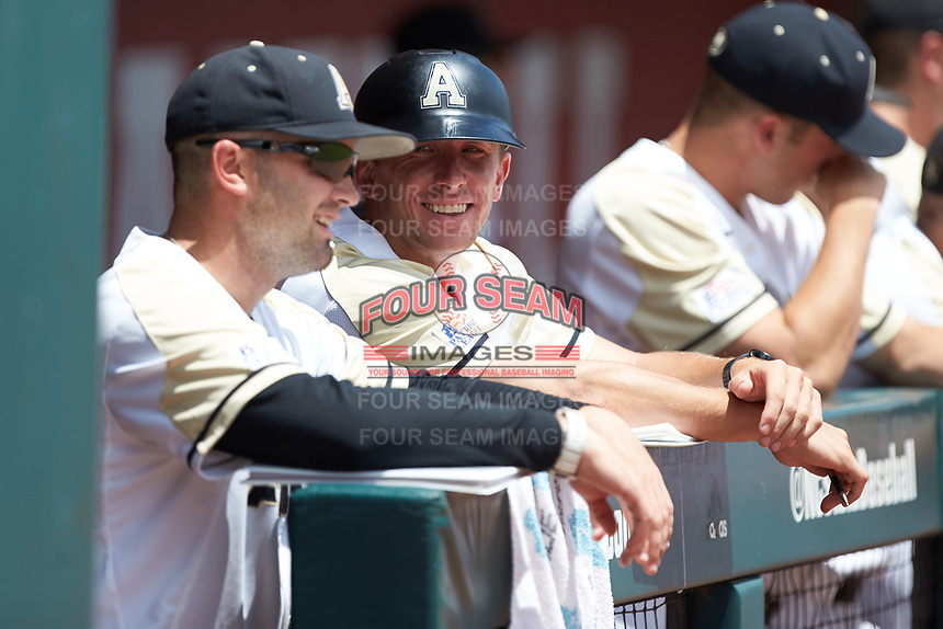 Army Black Knights assistant coach John Murphy (16) smiles prior to the game against the North Carolina State Wolfpack at Doak Field at Dail Park on June 3, 2018 in Raleigh, North Carolina. The Wolfpack defeated the Black Knights 11-1. (Brian Westerholt/Four Seam Images)