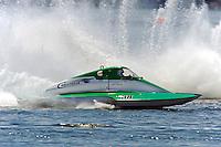"13-14 June, 2009, APBA Inboards, Walled Lake, Novi, MI. USA.Terry Amanti, S-58 ""Challenger Racing"" 2.5 Litre Stock hydroplane.©F. Peirce Williams 2009 USA.F.Peirce Williams.photography.ref: RAW (.NEF) File Available"