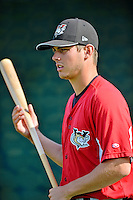 19 July 2012: Tri-City ValleyCats pitcher Vincent Velasquez awaits his turn in the batting cage prior to a game against the Vermont Lake Monsters at Centennial Field in Burlington, Vermont. The ValleyCats defeated the Lake Monsters 6-3 in NY Penn League action. Mandatory Credit: Ed Wolfstein Photo