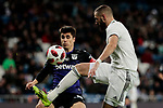 Real Madrid's Karim Benzema and CD Leganes's Unai Bustinza during Copa Del Rey match between Real Madrid and CD Leganes at Santiago Bernabeu Stadium in Madrid, Spain. January 09, 2019. (ALTERPHOTOS/A. Perez Meca)