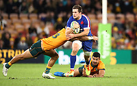 17th July 2021; Brisbane, Australia;  France's Pierre-Louis Barassi in is tackled by Alaalatoa (Aus) during the Australia versus France, 3rd Rugby Test at Suncorp Stadium, Brisbane, Australia on Saturday 17th July 2021.