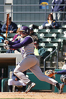 Mike Fabiaschi of James Madison University hitting in a game against UC Irvine at the Baseball at the Beach Tournament held at BB&T Coastal Field in Myrtle Beach, SC on February 28, 2010.