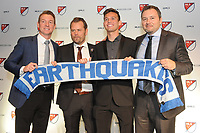 Philadelphia, PA - Thursday January 19, 2018: Chris Leitch, Mikael Stahre, Jesse Fioranelli,Danny Musovski during the 2018 MLS SuperDraft at the Pennsylvania Convention Center.