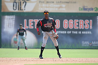 Esteury Ruiz (12) of the Lake Elsinore Storm in the field during a game against the Inland Empire 66ers at San Manuel Stadium on June 5, 2019 in San Bernardino, California. (Larry Goren/Four Seam Images)