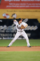 Frederick Keys second baseman Preston Palmeiro (7) throws to first base during the second game of a doubleheader against the Lynchburg Hillcats on June 12, 2018 at Nymeo Field at Harry Grove Stadium in Frederick, Maryland.  Frederick defeated Lynchburg 8-1.  (Mike Janes/Four Seam Images)