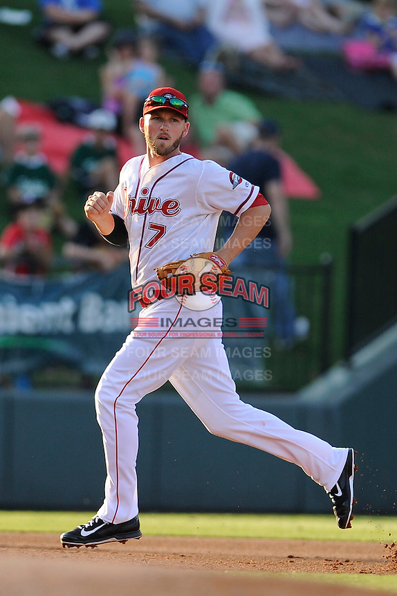 Boston Red Sox shortstop Stephen Drew (7) runs to cover third base on a ground ball for the Class A Greenville Drive on a tuneup assignment in a game against the Augusta GreenJackets on Friday, May 23, 2014, at Fluor Field at the West End in Greenville, South Carolina. (Tom Priddy/Four Seam Images)
