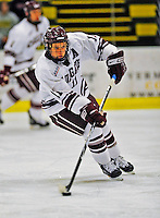 3 January 2009: Colgate Raiders' forward Tom Riley, a Senior from Ottawa, Ontario, in action against the Ferris State Bulldogs during the consolation game of the 2009 Catamount Cup Ice Hockey Tournament hosted by the University of Vermont at Gutterson Fieldhouse in Burlington, Vermont. The two teams battled to a 3-3 draw, with the Bulldogs winning a post-game shootout 2-1, thus placing them third in the tournament...Mandatory Photo Credit: Ed Wolfstein Photo