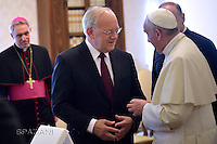 Pope Francis Switzerland's Federal President Johann Schneider-Ammann  during a private audience, at the Vatican on May 7, 2016.