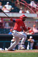 Harrisburg Senators outfielder Brian Goodwin (15) at bat during a game against the Erie Seawolves on August 30, 2015 at Jerry Uht Park in Erie, Pennsylvania.  Harrisburg defeated Erie 4-3.  (Mike Janes/Four Seam Images)