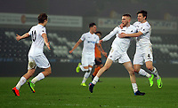 Pictured: Oliver McBurnie of Swansea City (C) celebrates his goal with team mates George Byers (L) and Adnan Maric (R)Monday 13 March 2017<br /> Re: Premier League 2, Swansea City U23 v Wolverhampton Wanderers FC at the Liberty Stadium, Swansea, UK