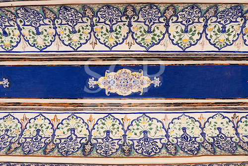 Jodhpur, India. Mehrangarh sandstone hill fort of the Marwar rulers. Blue painted detail.