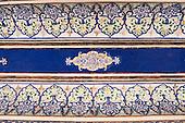 Jodhpur, India. Mehrangarh sandstone hill fort of the Marwar rulers. Blue painted detail.