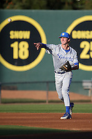 Clay Fisher (17) of the UC Santa Barbara Gauchos makes a throw during a game against the Cal State Long Beach Dirtbags at Blair Field on April 1, 2016 in Long Beach, California. UC Santa Barbara defeated Cal State Long Beach, 4-3. (Larry Goren/Four Seam Images)