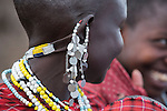 Maasai woman earrings and necklace in village near Ol Karien Gorge, Ngorongoro Conservation Area, Tanzania.