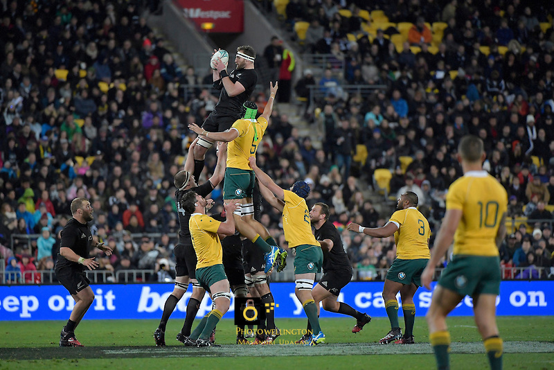 All Blacks' Kieran Read in action during theAll Blacks v Wallabies. The Rugby Championship & Bledisloe Cup at Westpac Stadium, Wellington, New Zealand on Saturday 27 August 2016.<br /> Photo by Masanori Udagawa. <br /> www.photowellington.photoshelter.com.