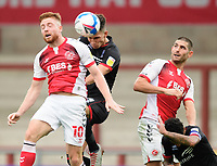 Lincoln City's Lewis Montsma vies for possession with Fleetwood Town's Callum Camps<br /> <br /> Photographer Chris Vaughan/CameraSport<br /> <br /> The EFL Sky Bet League One - Fleetwood Town v Lincoln City - Saturday 17th October 2020 - Highbury Stadium - Fleetwood<br /> <br /> World Copyright © 2020 CameraSport. All rights reserved. 43 Linden Ave. Countesthorpe. Leicester. England. LE8 5PG - Tel: +44 (0) 116 277 4147 - admin@camerasport.com - www.camerasport.com