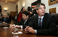 Quebec City ? March 29, 2007. Nicolet-Yamaska ADQ MNA Eric Dorion waits for the beginning of the first ADQ caucus as the official opposition at the National Assembly March.  ADQ 41 MNAs is a major upgrade from the 5 they add before, and many of them will have to learn the trick of the trade.<br /> <br /> PHOTO :  Francis Vachon - Agence Quebec Presse