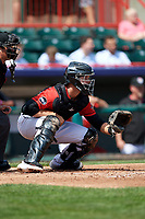 Erie SeaWolves catcher Grayson Greiner (21) awaits the pitch during a game against the Reading Fightin Phils on May 18, 2017 at UPMC Park in Erie, Pennsylvania.  Reading defeated Erie 8-3.  (Mike Janes/Four Seam Images)