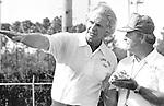 FSU Seminoles coach Bobby Bowden, right, listens to famed quarterback Kenny Stabler on the practice field at Florida State University (Mark Wallheiser/TallahasseeStock.com)