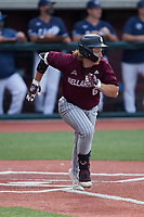 Matt Higgins (6) of the Bellarmine Knights hustles down the first base line against the Liberty Flames at Liberty Baseball Stadium on March 9, 2021 in Lynchburg, VA. (Brian Westerholt/Four Seam Images)