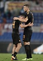Calcio, Serie A: Roma, stadio Olimpico, 16 settembre 2017.<br /> Roma's Alessandro Florenzi (l) and Edin Dzeko celebrate after winning 3-0 the Italian Serie A football match between AS Roma and Hellas Verona at Rome's Olympic stadium, September 16, 2017.<br /> UPDATE IMAGES PRESS/Isabella Bonotto