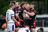 Chris Hankinson (on loan from Wigan) of London Broncos celebrates his try during the Betfred Championship match between London Broncos and Newcastle Thunder at The Rock, Rosslyn Park, London, England on 9 May 2021. Photo by Liam McAvoy.