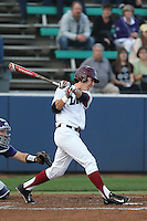 Austin Miller (8) of the Loyola Marymount Lions bats during a game against the TCU Horned Frogs at Page Stadium on March 16, 2015 in Los Angeles, California. TCU defeated Loyola, 6-2. (Larry Goren/Four Seam Images)