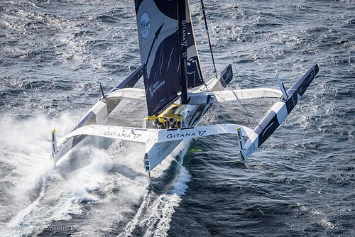 Going by the name Gitana 17 and launched in 2017, Maxi Edmond de Rothschild holds the outright multihull record for the Rolex Fastnet Race having completed the course in 2019 in 1 day 4hrs 2mins 26 secs Photo: Eloi Stichelbaut