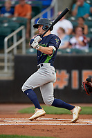 Vermont Lake Monsters Marty Bechina (10) bats during a NY-Penn League game against the Aberdeen IronBirds on August 19, 2019 at Leidos Field at Ripken Stadium in Aberdeen, Maryland.  Aberdeen defeated Vermont 6-2.  (Mike Janes/Four Seam Images)